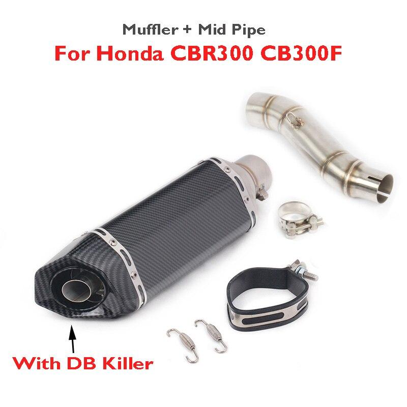 CBR300 CB300F CB300R silenciador deslizante de motocicleta Escape tubo de conexión de enlace medio para Honda CBR300 CB300F CB300R