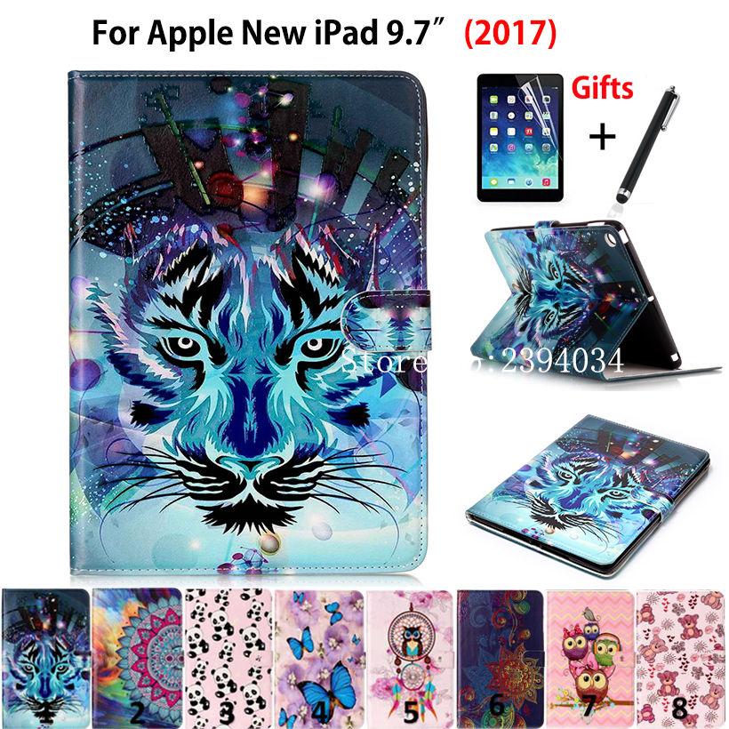 Funda con estampado de moda para Apple New iPad 9,7 2017 2018, Funda, modelo A1822 A1823 A1893, carcasa de cuero PU con soporte + lápiz + película