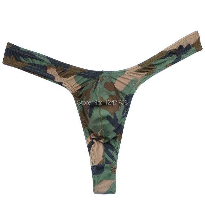¡Novedad! ropa interior tipo Tanga de camuflaje para hombre, minitanga con bolsa para Bikini