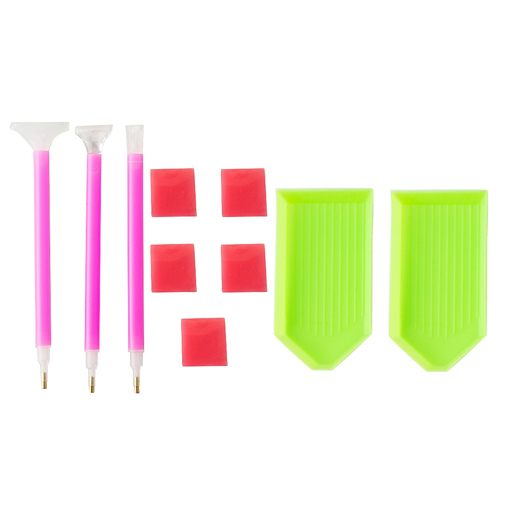 10 pçs diamante pintura bordado conjunto não-tóxico diy 3d rosqueado bandeja ferramentas de ponto cruz etiquetas pegajosas para aluno amador
