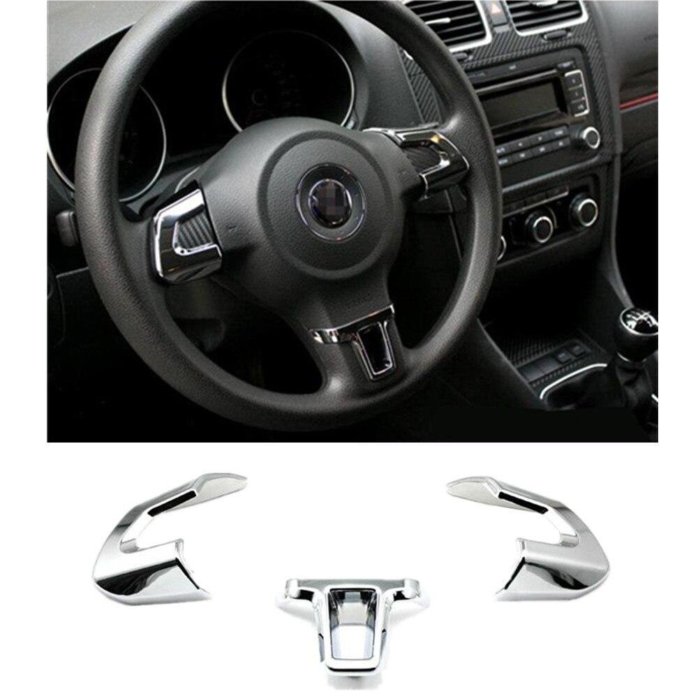 Накладка на руль Наклейка ABS Хромированная Накладка аксессуары чехол для Volkswagen VW GOLF 6 MK6 POLO JETTA MK5 Bora автомобильный Стайлинг