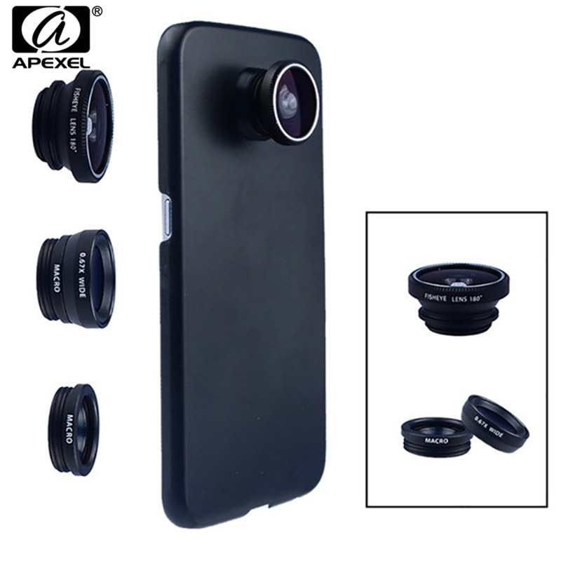 Telefoon Camera Lens 180 Fish eye Wide Macro Lens Met Case Cover Voor Samsung Galaxy s8 plus s6 rand S5 opmerking 3 in 1 mini Lenzen kit