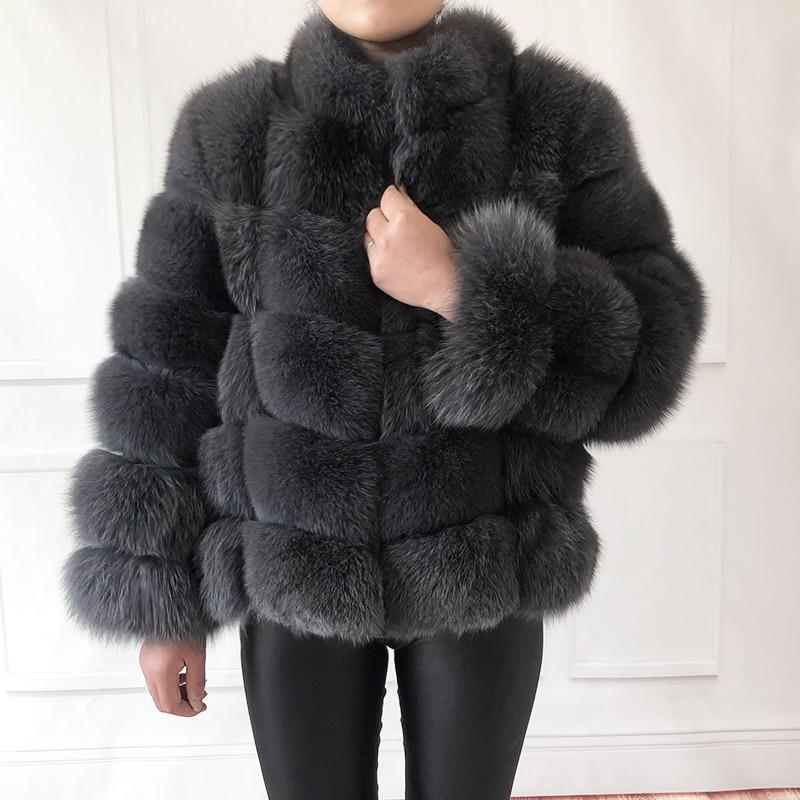 100% abrigo de piel auténtica para mujer chaqueta de piel de zorro natural cálida y elegante Chaleco de piel de manga larga con cuello Abrigos de piel natural