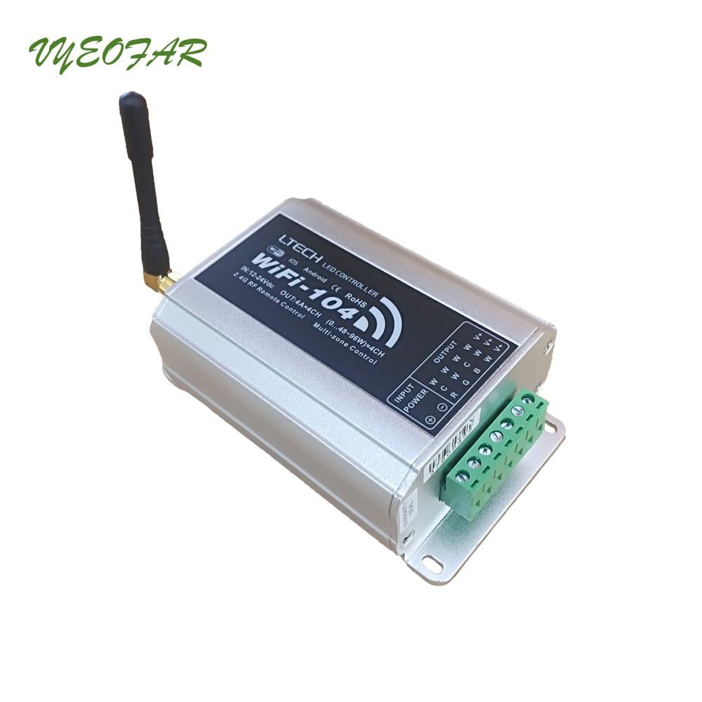 New LED wifi controller M12 IR remote;2.4GHz Wi-Fi max 12 zone Controller 4Ax4CH 16A output Wifi104  R4-5A R4-CC Receiver