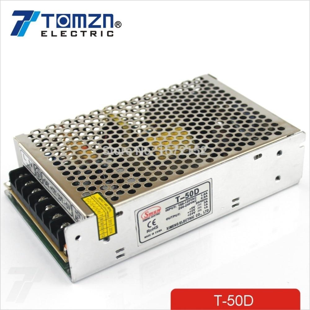T 50 واط D محول طاقة كهربائية ثلاثي المخارج 5 فولت 12 فولت 24 فولت تحويل التيار الكهربائي smps التيار المتناوب إلى تيار مستمر