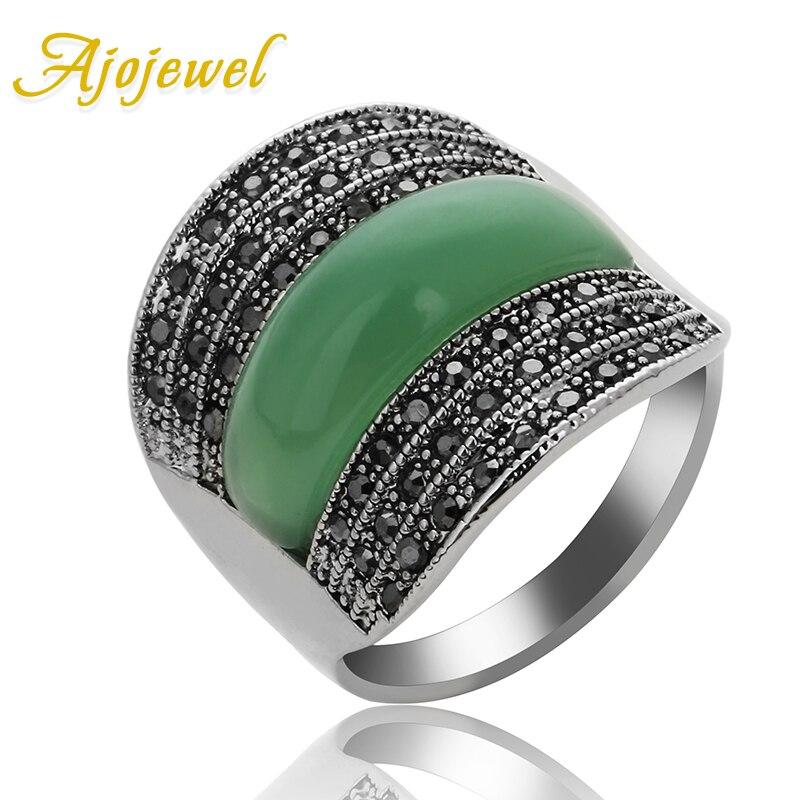 Ajojewel оригинальные ювелирные изделия зеленый/черный/красный камень геометрические винтажные кольца для женщин с черными стразами Bijoux