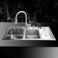 910430210mm 304 stainless steel undermount handmade brushed seamless welding kitchen sink set with drawing drainer dispenser