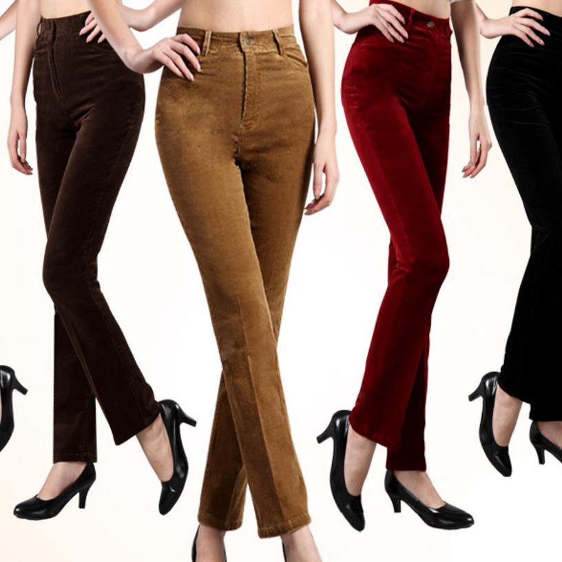 Женские вельветовые брюки с высокой талией, повседневные Прямые брюки на осень и зиму, большие размеры