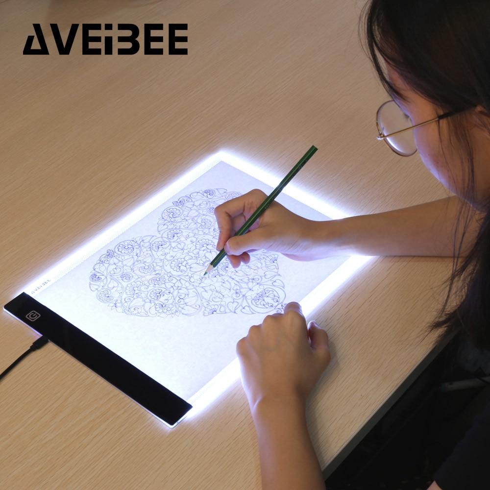 الأصلي الرقمية أقراص A4 LED الرسم الفنان رقيقة الفن Stencil الرسم مجلس صندوق إضاءة تتبع الجدول الوسادة ثلاثة مستويات Copy
