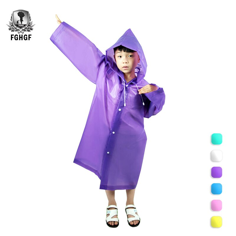FGHGF EVA niños chubasquero Poncho para la lluvia cubierta niñas Impermeable ropa Impermeable capas desechables transparentes Impermeable niños abrigo