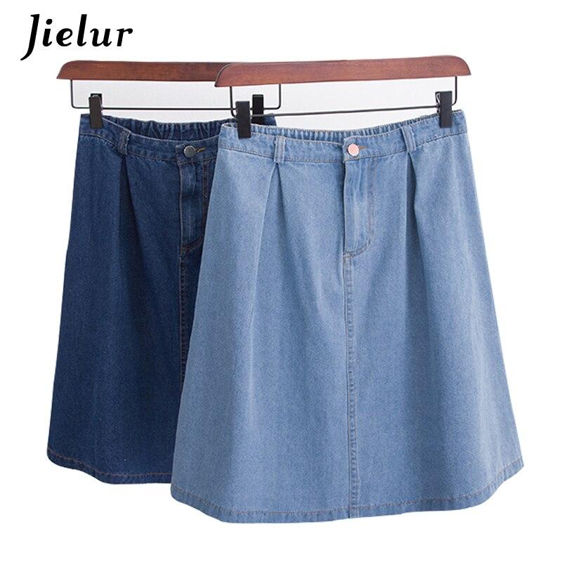Jielur Korean Fashion A line Harajuku Faldas Mujer Moda 2020 Jeans Skirt Summer Dark Blue Loose Denim Skirts Women S-L