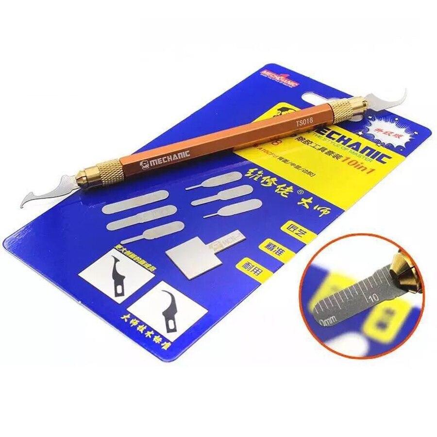 Mecánico S1018 BGA Chip removedor de Graver pegamento raspador de limpieza y reparación de IC cuchillos 1 pluma y 9 Uds cuchillas de