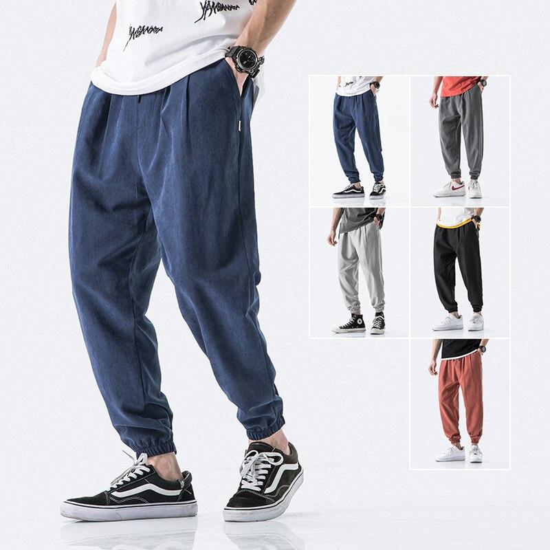 Pantalones Harajuku de verano 2020 para hombre, pantalones de negocios informales para hombre, pantalones delgados sueltos de cintura elástica, pantalones de estilo japonés para hombre