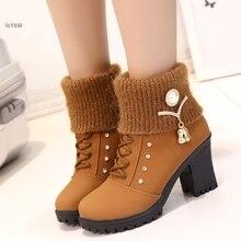 2018 Hot Fashion women high heel half short ankle boots winter  snow botas fashion footwear warm heels boot shoes
