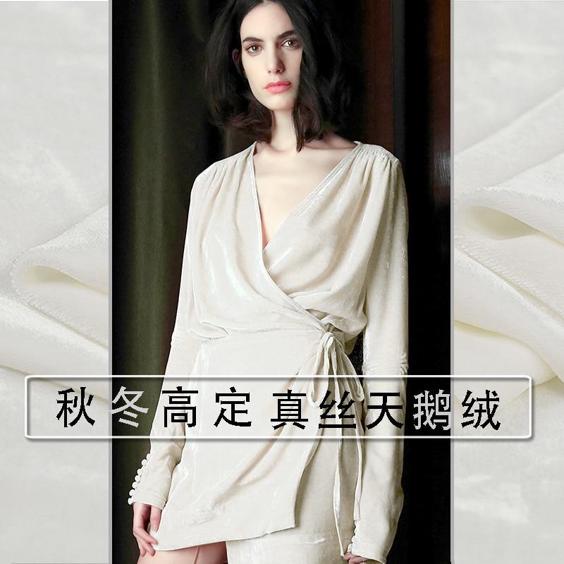 Telas-rideaux en tissu de velours de soie   100% de haute qualité, tissu Textile blanc pour le matériel de couture, vente en gros