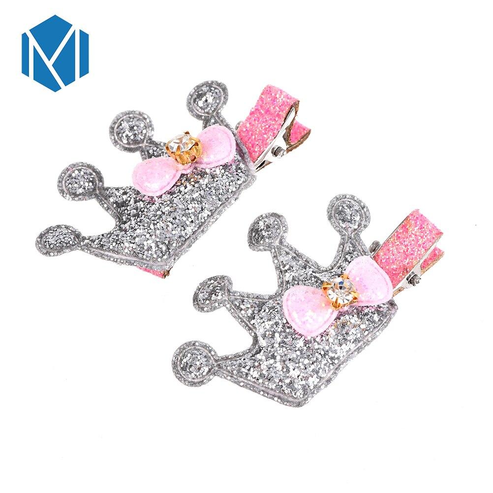 M MISM gran oferta 2 uds horquilla de corona bonitos sombreros de color Metal niños brillante Tiara con pajarita para niñas accesorios para el cabello