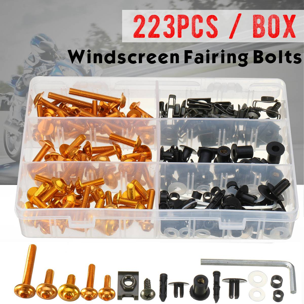 223pcs Universal Motorcycle Windscreen Body Fairing Bolts Windshield Fastener Clips Screws For Honda/Yamaha/Suzuki