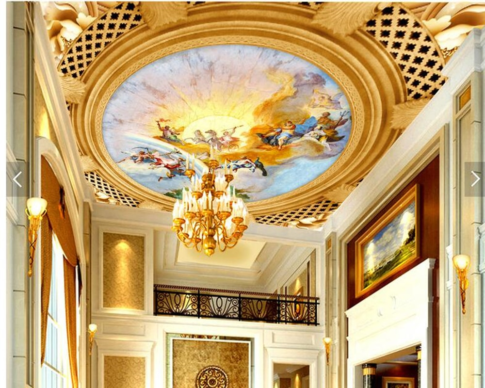 Fondos de techo personalizados, frescos de dios griego europeo para sala de estar sofá techo fondo de pared decoración del hogar papel tapiz