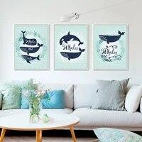 Affiche imprimee artistique moderne de noel  ligne bleue abstraite  famille de baleine de poisson A4  image murale  decoration de maison nordique  toile  peinture sans cadre