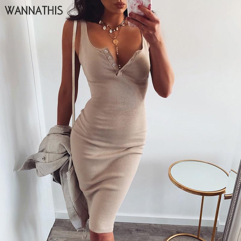 WannaThis Knee-Length Dress Knitted Elastic Sleeveless Bodycon elegant Women 2019 Summer Sexy V-Neck