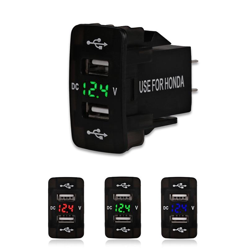 Автомобильное зарядное устройство с двумя usb-портами, 12 В, 24 В, 4,5 А, для Honda 2, автомобильный адаптер с usb-портом, разъем вольтметра для Honda CIVIC CROSSTOUR CRV ODYSSEY
