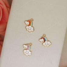 Mrhuang 10 Pcs Mooie Rainbow Enamel Charms Lichtmetalen Hanger Fit Voor Armband Diy Mode-sieraden Accessoires