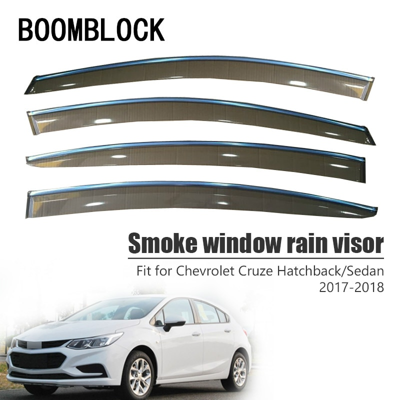 High Quality 4pcs Smoke Window Rain Visor For Chevrolet Cruze Sedan/Hatchback 2018 2017 Vent Sun Deflectors Guard Accessories