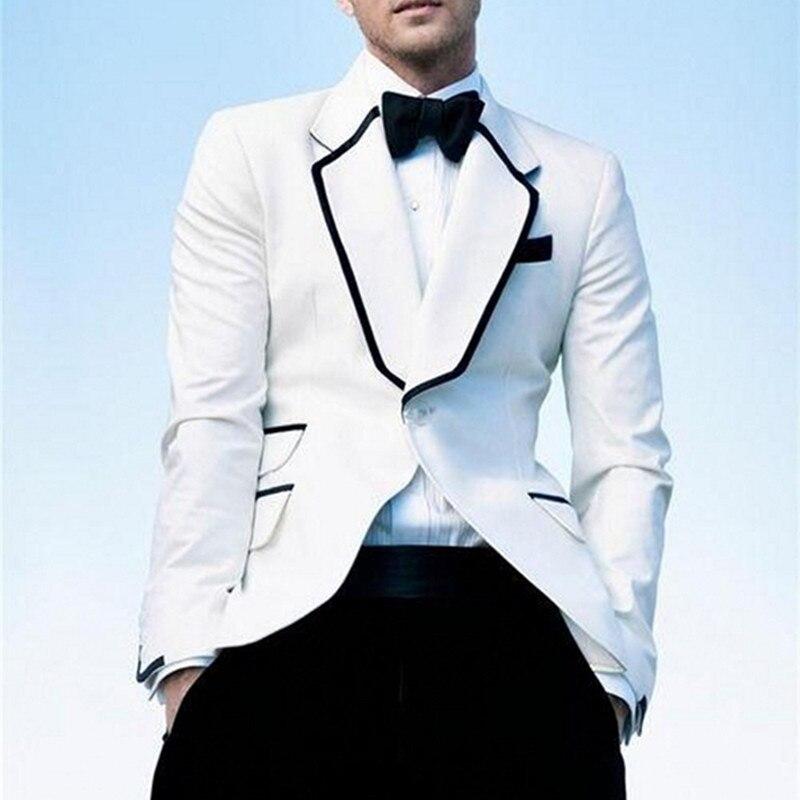 Nuevo vestido de novio, traje de padrino de boda blanco con solapa para hombre, traje de padrino de boda (abrigo + Pantalones + corbata)