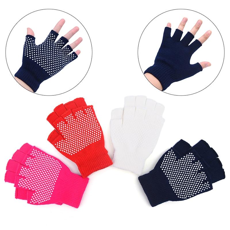 1 Pair Cotton Breathe Non Slip Half Finger Gym Training Gloves Fitness Yoga Gloves