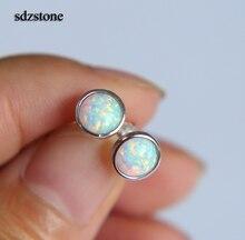 Véritable 925 argent sterling simple géométrique rond points 6mm opale demi-boule argent lunette délicate de haute qualité pierre boucle doreille