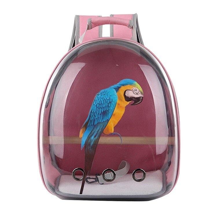 Pássaro ao ar Portadores de Papagaio Bolsa com Poleiro de Madeira Livre Transparente Mochila Gaiola Papagaio Pet Respirável Espaço Cápsula Hw011