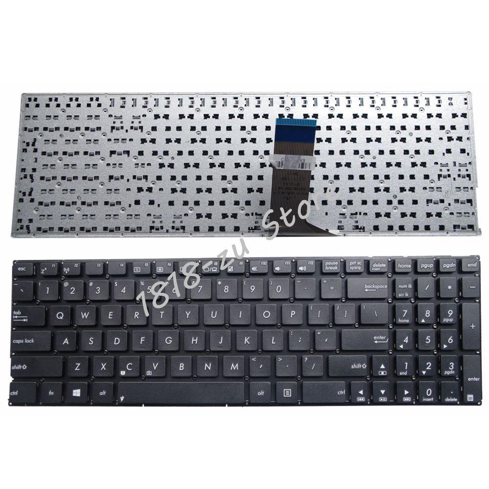 Yaluzu novo para asus x555u x555ua x555ub x555uf x555uj x555yi inglês teclado do portátil eua layout preto sem moldura