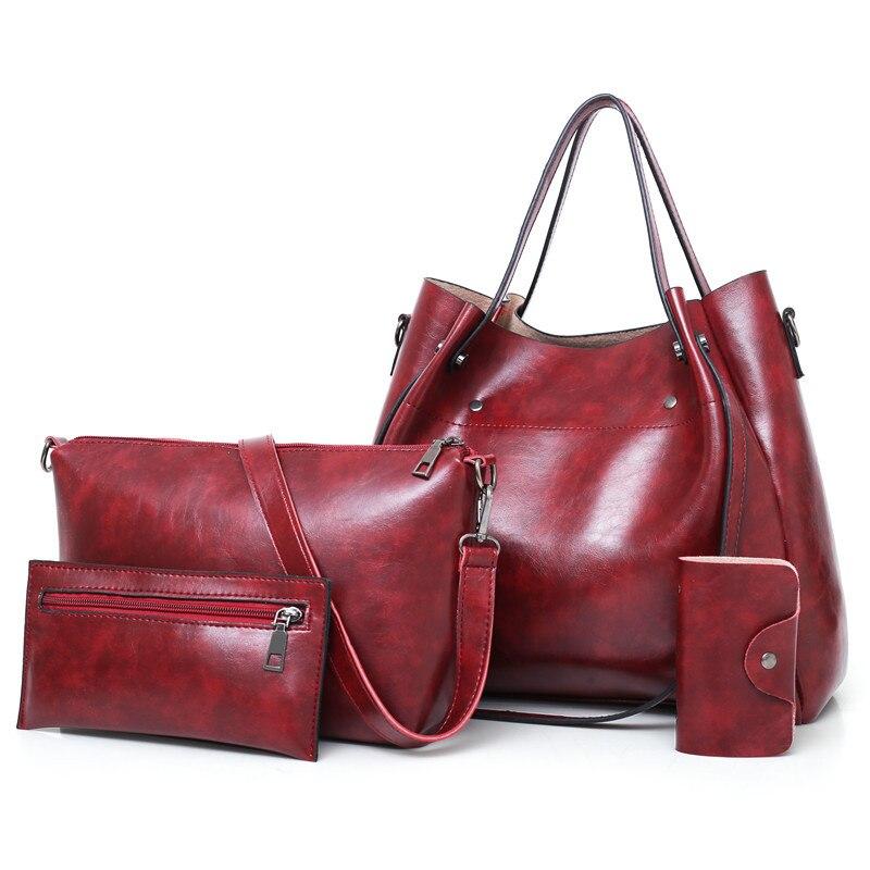 4 unids/set de bolsos de gran capacidad bolsos de hombro europeos y americanos para mujeres 2019 marca famosa retro Casual tote bag bolsa