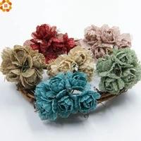 Bouquet de roses artificielles en toile de Jute  6 pieces  pour decoration de voiture  pour mariage  pour la maison  pour couronne de Scrapbooking