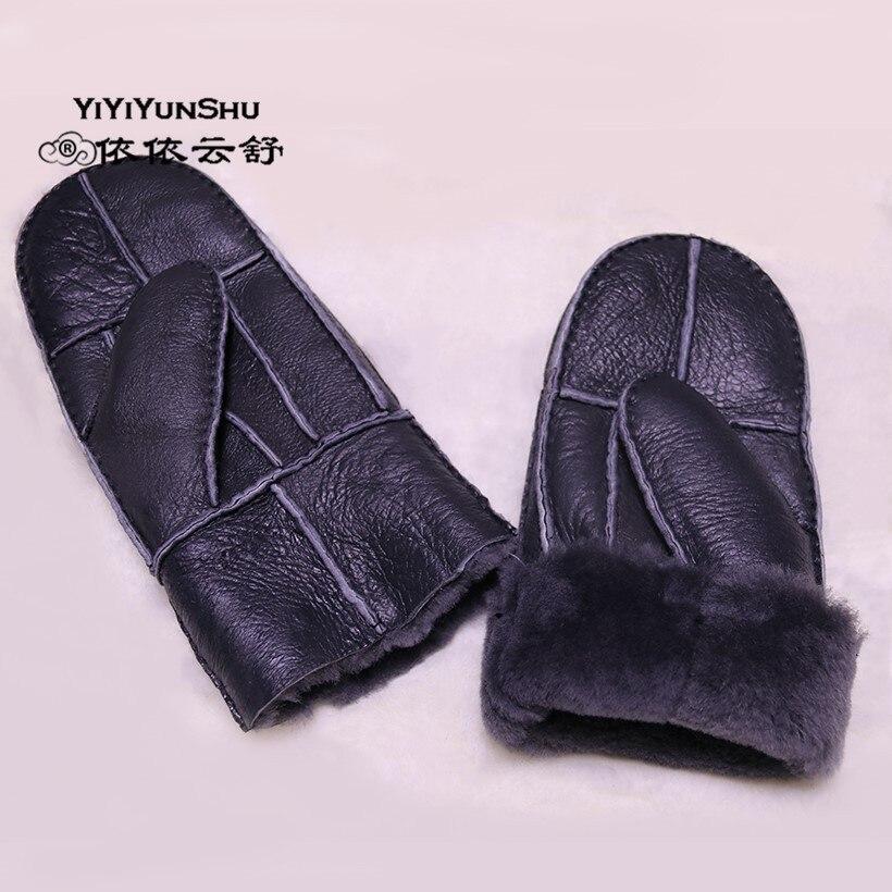 Мужские зимние перчатки YIYIYUNSHU, теплые рукавицы из натуральной кожи на запястье, толстые зимние перчатки для взрослых