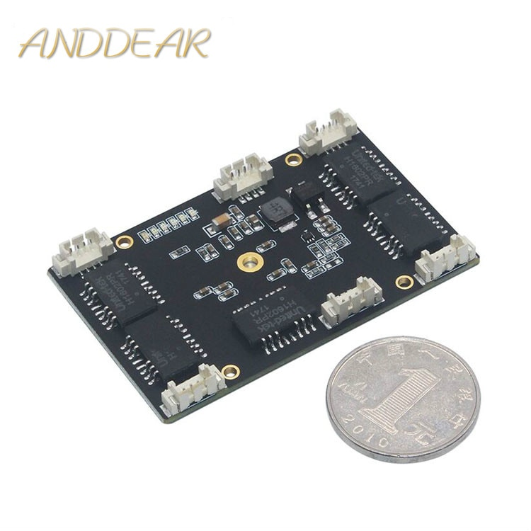 ANDDEAR Customized industrial 5 port 10/100M unmanaged network ethernet switch 12v pcba module network switch 5/6 civil grade