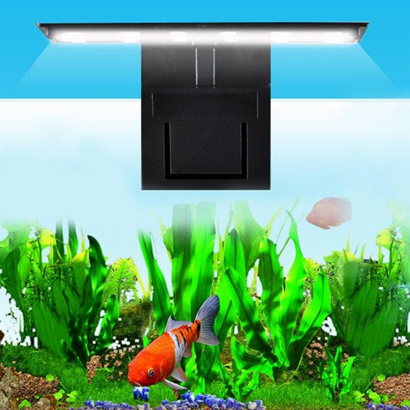EU Plug LED Aquarium Fish Tank Light Submersible Light Clamp Clip Water Plant Grow White Color Lighting