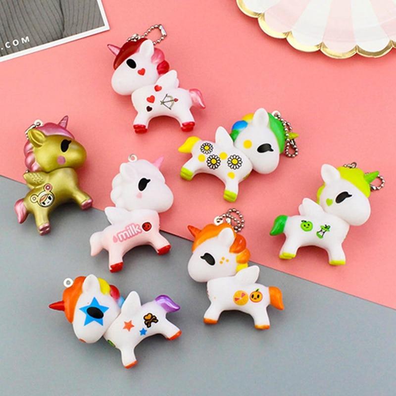 Llaveros Kawaii de dibujos animados de unicornio colorido de silicona colgante para bolso dijes para bolso Carkey accesorio excelente regalo novedad