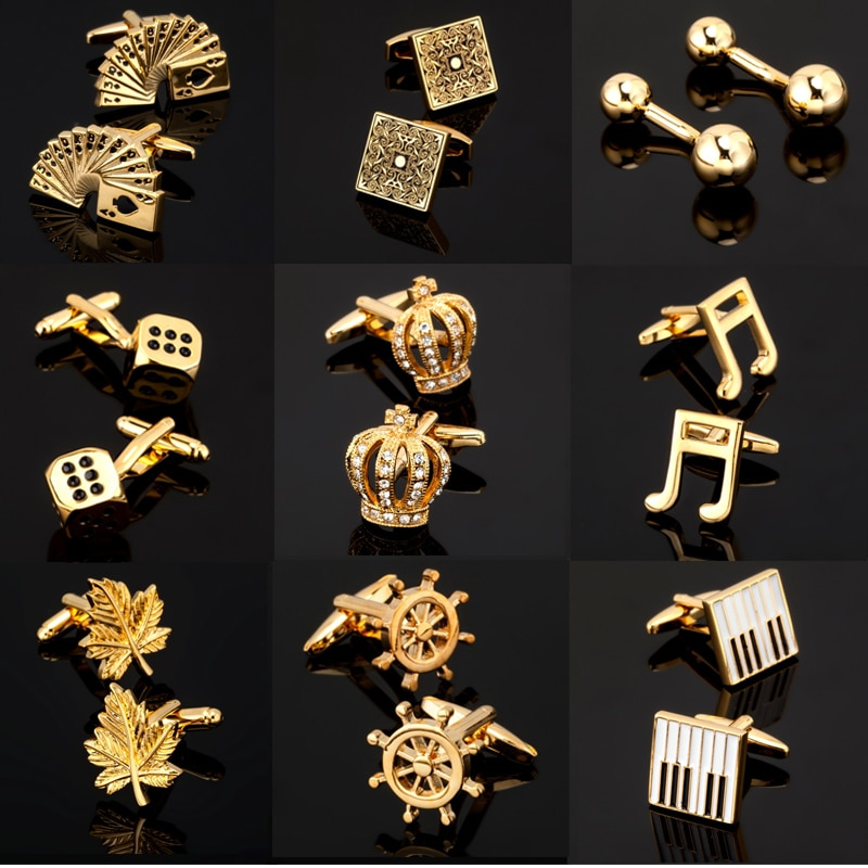 KC High quality men's gold Cufflinks series / Rose / cards / engraving dice / piano keyboard Cufflin