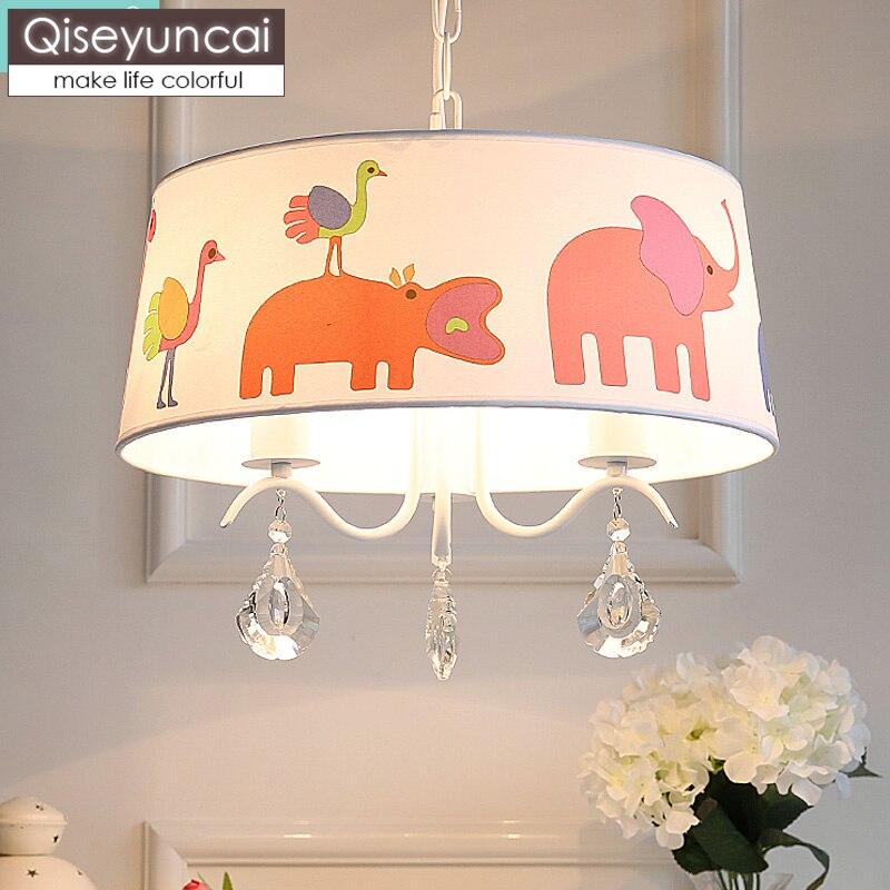 Qiseyuncai Modern minimalist children's room crystal cute wooden horse LED chandelier boy girl bedroom bear cartoon lighting