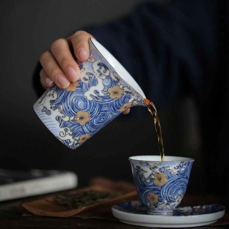 """PINNY """"Noche Estrellada"""" Color esmalte Cha Hai 200ml tazas de Feria de cerámica hechas a mano kungfú chino accesorios de té pintado a mano Set de té"""