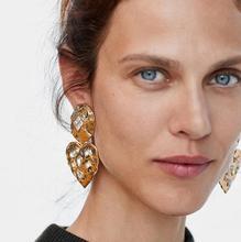Pendientes grandes del corazón de oro del encanto de JURAN 2019 nuevos pendientes largos de la gota de la declaración del Metal para las mujeres pendientes de cristal
