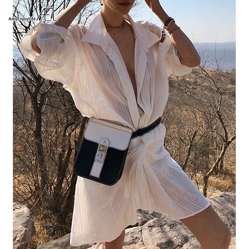 AEL stripe shirt-Dresses loose Woman Summer Beach Drop Shoulder Deep V Sexy asymmetric Dress Front knot 2019 New Fashion