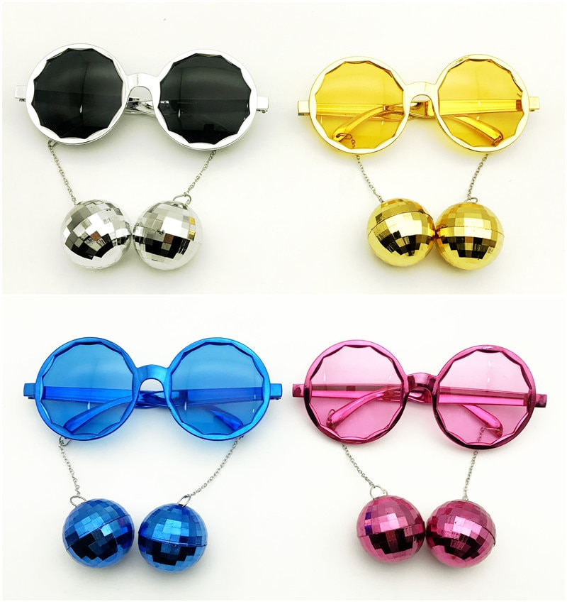 Shiny Hanging Disco Ball Glasses Costume Music Festival Party Favors Accessories Creative Sunglasses Rock Party Supplies Wedding