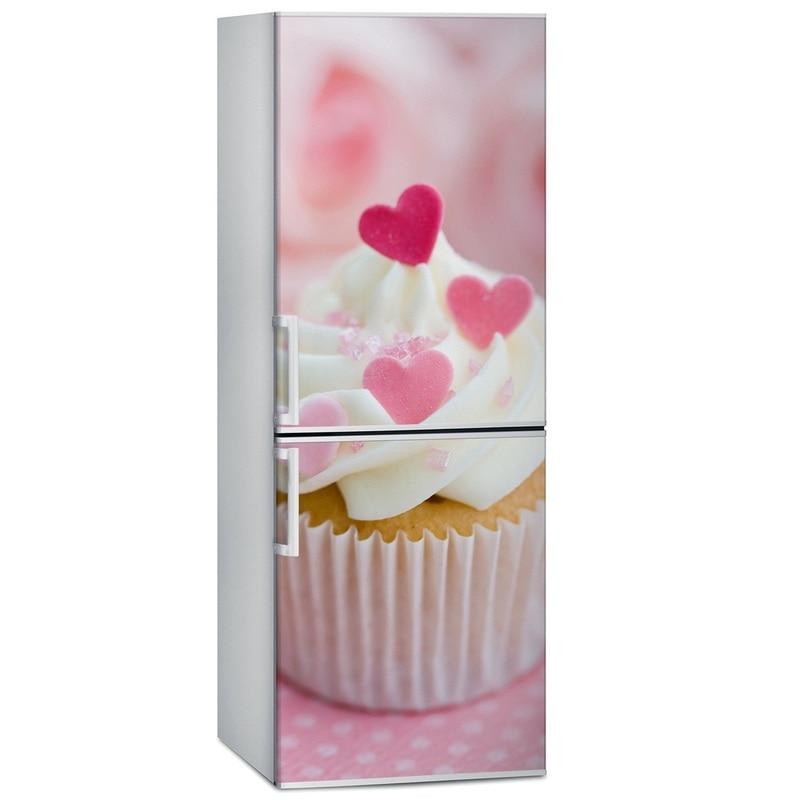 Pegatinas de cocina DIY delicious love cup cake impermeable autoadhesivo Calcomanía para refrigerador cubierta de puerta papel pintado 60x150cm 60x180cm