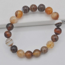 10 MM marron veines cornaline ronde perles Bracelet Bracelet extensible bijoux 8 pouces G252