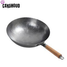 Cazehoud chino Manual tradicional olla de hierro forjado de hierro fundido sin recubrimiento estufa de Gas Wok sartén antiadherente con dos orejas