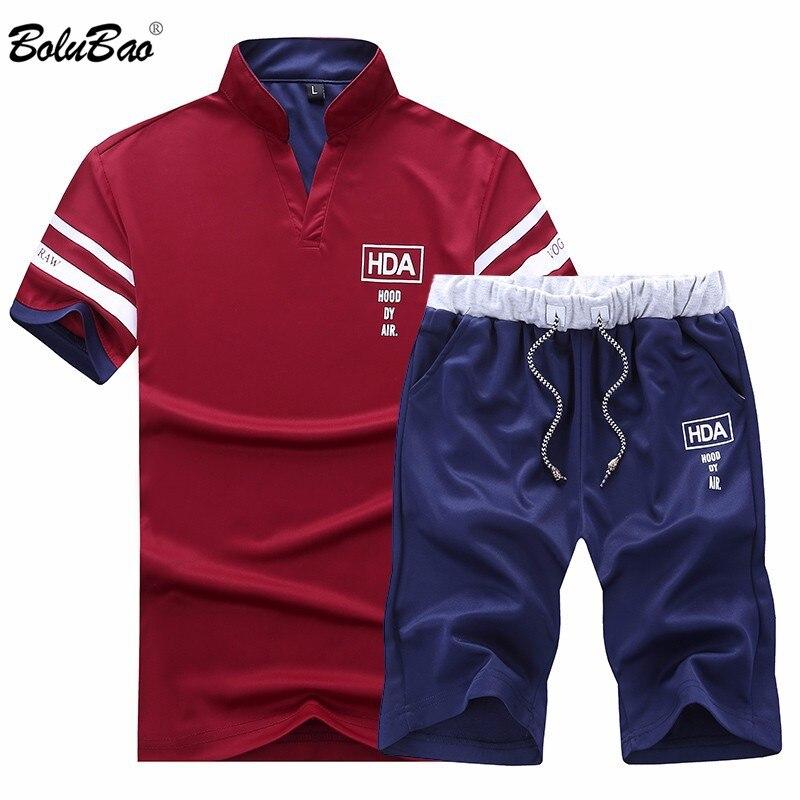 Bolubao conjuntos masculinos marca nova 2020 verão roupas de treino masculino manga curta + shorts 2 peças impresso masculino conjunto