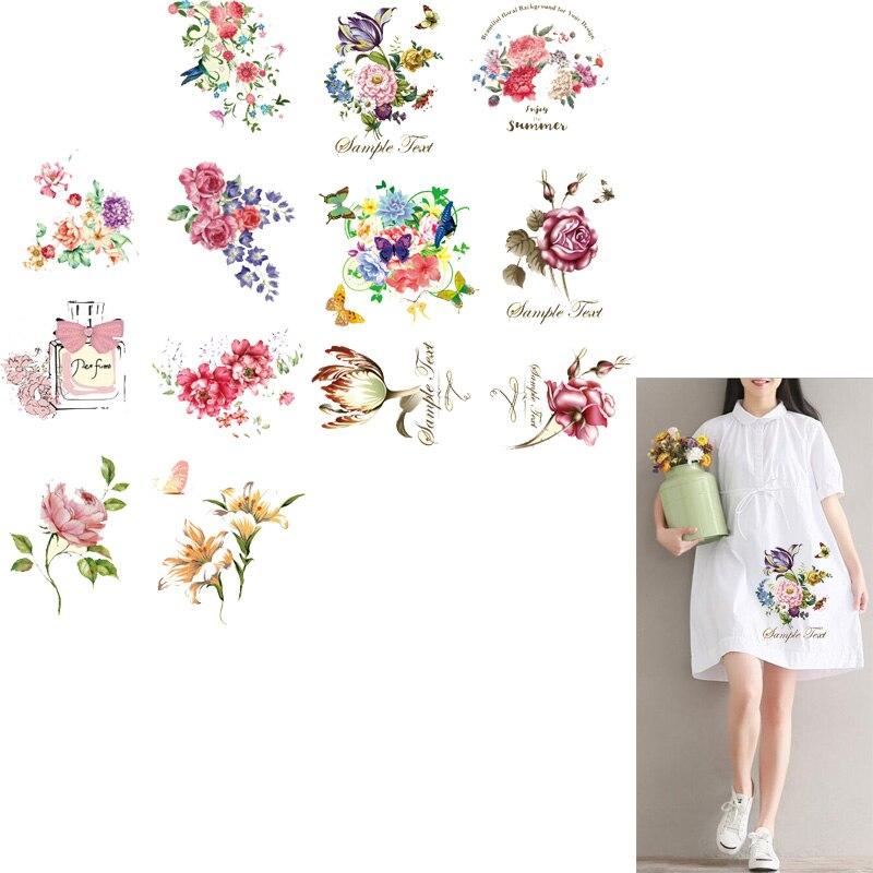 Parche con forma de flor ZOTOONE, transferencias de hierro, adhesivos para ropa, vestidos, transferencia térmica impresa A nivel, parches lavables para ropa