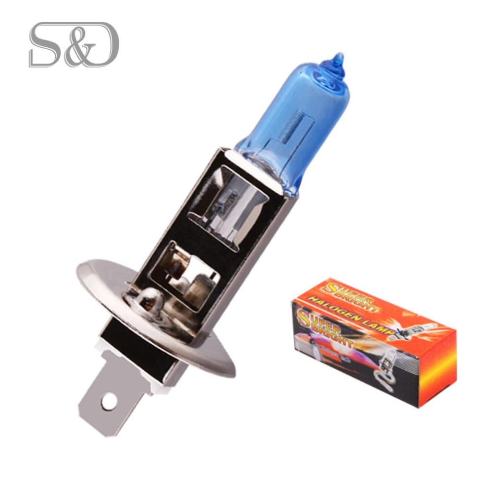 S & D H1 bombilla halógena faro de coche luz antiniebla Super blanco 5000 k-h11 H4 H3 H7 H8 HB3 HB4 9005 9006 880 881-55 W 100W 12V 24V